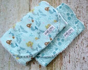 Baby Burp Cloths - Baby Girl Burp Cloths - Mermaid Burp Cloth - Sea Life Burp Cloth - Nautical Burp Cloths - Baby Shower Gift