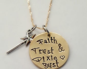 Gold Faith Trust & Pixie Dust Necklace, Hand Stamped Fairy Necklace, Heart Pendant Necklace, Tinker Belle, Disney Necklace