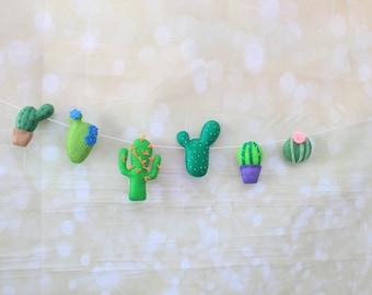 Felt cactus Garland Cactus banner fiesta cactus decor nursery garland felt succulent photo prop cacti banner