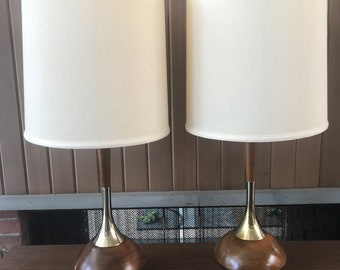 Laurel Walnut & Brass Table Lamps with shades