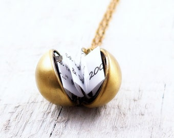 Secret Message Necklace, Vintage Ball Locket Necklace, Locket Pendant, Bridesmaid Gifts, Proposal Gift, Graduation Gift