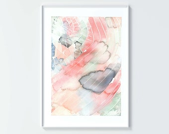 Art print, No 28, modern watercolor, color, gray, green, blue, orange, peach, pink, home decor, painting, gift, moms, dads, grads