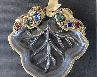 Vintage Vanity Dish,  Rhinestone Dish, Ring Dish, Jewelry Holder, Vintage Leaf Plate, CLEARANCE