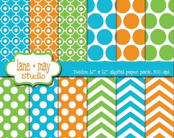 digital papers - green, orange and blue polka dot and chevron patterns - INSTANT DOWNLOAD