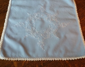 "Lovely Vintage Embroidered Blue and White Table Runner or Dresser Scarf 34"" X 14"""