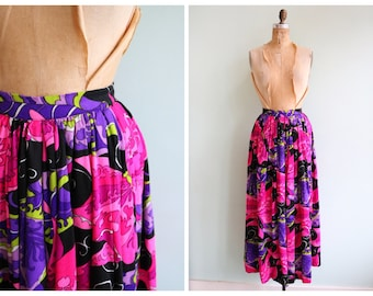 Vintage 1970's Neon Butterfly Skirt | Size Small