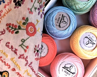 Pearl cotton yarn balls size 8, embroidery floss, pack of 6 Portuguese Embroidery thread pastel colors: lilac yellow pink green blue coral