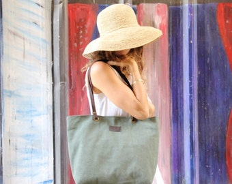 Extra large tote bag, Green Canvas tote with leather handles, Women's work bag, Canvas zipper totes, Vegan Canvas tote bag