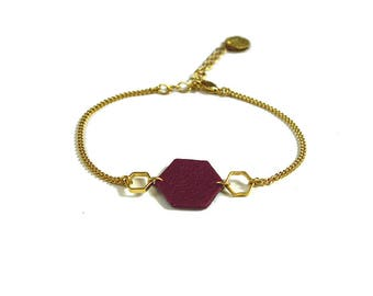 Hexagonal leather bracelet - burguny