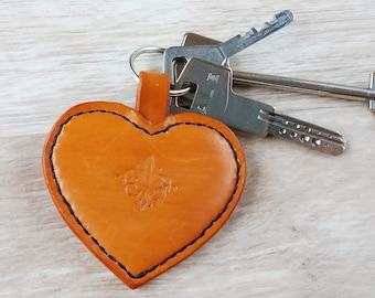 leather heart, Orange Heart, leather heart keychain, heart leather, heart key fob, leather heart keyring, heart key fob, heart keyring