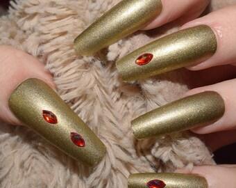 Gold Fake Nails, Extra Long Coffin False Nails, Hand Painted Press On Nails, Ballerina Nails, Nail Designs, 24 Full Cover Nails, Glue On