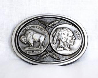 Vintage Buffalo Nickel belt buckle...Indian Head Nickel buckle...buckles of America.