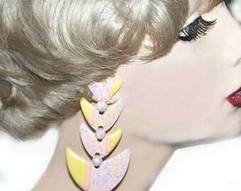 1980's Pop Art New Wave Splatter Statement Earrings - CLEARANCE SALE - Huge Hinged Fish Look - item j44