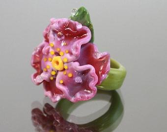 Lampwork Ring, Glass Ring, Floral Lampwork Ring, Focal Lampwork Flower Ring, Lampwork Glass Jewelry, Lampwork Beads, Lampwork Glass Beads