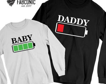 Daddy and son, Matching Daddy and son sweatshirts, Sweatshirts for daddy and son, Battery low sweatshirts, Daddy son matching sweatshirts