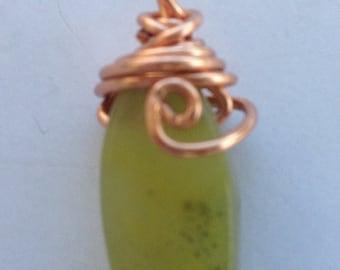 Jade Shape, Copper Wire Wrapped Pendant, Copper Wire Wrapped Pendant, Handmade Jewelry