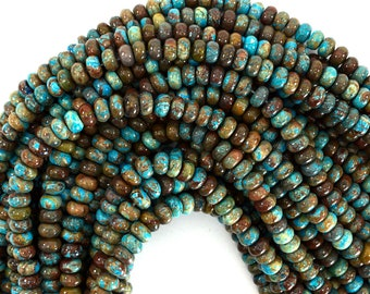 """6mm brown blue turquoise rondelle beads 15.5"""" strand 39184"""
