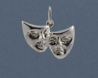 Comedy and Tragedy theatrical mask pendant made in 925 sterling silver