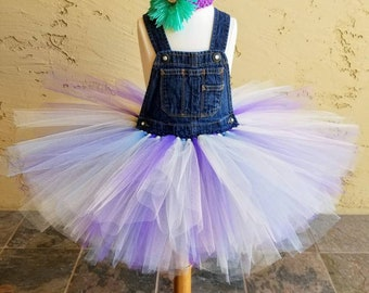 Little Girl or Baby Upcycled Overall Tulle Tutu Dress Purple Blue and Ivory, country, boho, farm