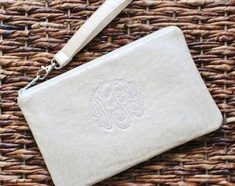 Monogrammed Vegan Leather Clutch/Wristlet - Bridesmaid Clutch - Ivory