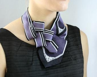 Violet Necktie Scarf - Ascot Tie - Womens Necktie - Hipster Clothing- Creative Gift Ideas - Violet Art Nouveau Lauren Scarf. 02