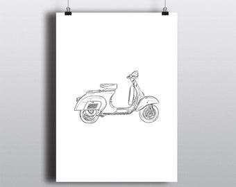 Vespa Art Print, Vespa Wall Art, Scooter Art Print: Vespa Side Profile, Portrait Orientation