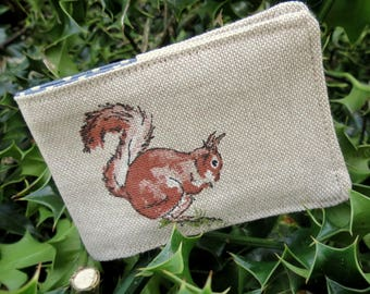 Oyster card holder.  Travelcard Sleeve.  A card holder with a squirrel design.
