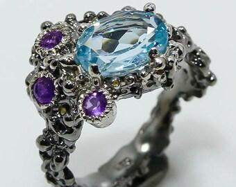 Natural Blue Topaz 925 Sterling Silver Ring Size 6 - Fine Art Ring - Handmade Ring  boho chic ring size 6 - Amethyst ring Blue topaz ring