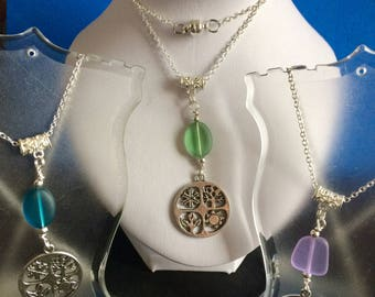 Four Season Necklace,Pendant With Seaglass Bead