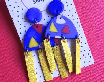 Statement Earring- handmade clay/leather dangle earrings