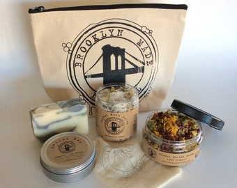 May Gift Set - Bath Salts - Tea Tree Soap - Facial Steam - Peppermint Lotion Bar - Canvas Zipper Bag - Soak & Steam Set