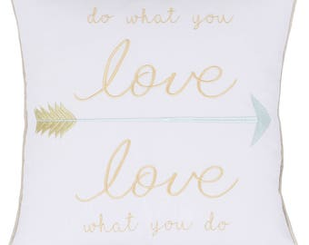 Do What You Love Embroidered Pillow Case Throw Pillow Decorative Pillow Cover Love Gift Couple Pillow