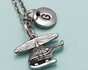 Helicopter necklace, helicopter charm, aircraft necklace, personalized necklace, initial necklace, initial charm, monogram