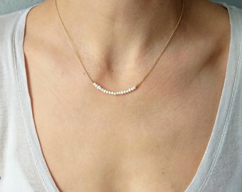 Pearl Bar Necklace, Wedding Necklace, Bridal Jewelry Collection, Bridesmaid, Handmade, Jewelry Gift for Her, Valentine's Day Necklace