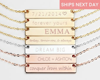 Personalized Bar Necklace Custom Name Graduation gift Women Name Necklace Name Plate Necklace Initial Necklace Gold Bar Necklace  - 4N