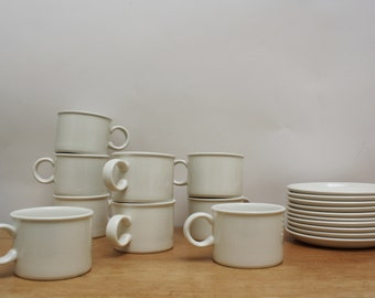Set of 9 Vintage White Midwinter Stonehenge Pottery Cups and Saucers - Made in England