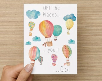 Greeting Card - Graduation Card: Oh the places you'll go!, grad card, friend card, congrats card, Dr.Suess card, first day of college card