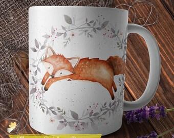 Fox Mug, Woodland Mug, Fox Coffee Mug, Animal Mug, Fox Tea Mug, Handdrawn Mug, Whimsical Mug, Fox in Wreath, Watercolor Fox Print on Mug