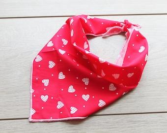 Dotty Hearts Dog Bandana, Pet Bandana, Puppy Bandana, Red and White Dog Bandana, Tie on Dog Bandana, Dog Gift, Dog Scarf, Dog Accessories