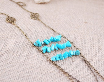 Turquoise necklace, layering chain necklace, bronze tone long blue beaded necklace, chunky modern everyday jewelry