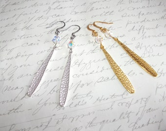 Long hammered drops gold or silver earrings with crystals