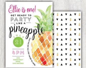 Printable pineapple invitation - Party like a pineapple - Summer party - Fruit - Watercolor - First Birthday - Baby Shower - Customizable