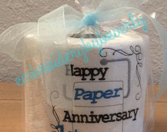 Happy Paper Anniversary toilet paper gag gift.