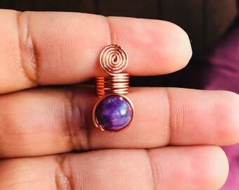 Loc Jewelry Dreadlock Coil 1pc Purple Bead