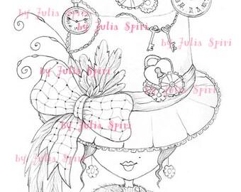 Digital Stamp, Digi, Coloring, Hat stamps, Vintage, Clock, Steampunk, Girl stamp, Fantasy. The Hat Collection. The Fantasy Hat