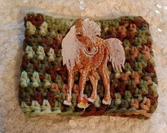 Pegasus, winged horse earth tones yarn cozy