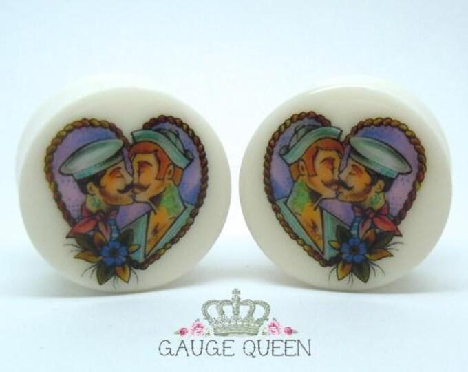 "Tattoo Plugs / Gauges. True Loves Kiss. 2g /6.5mm, 0g /8mm, 00g /10mm, 1/2"" /12.5mm, 9/16"" /14mm, 5/8"" /16mm, 3/4"" /19mm, 7/8""/22mm, 1""/25mm"