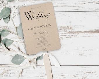DIY Program Fan, Wedding Program Fan DIY, PDF Template, Wedding Programs, Printable Wedding Fan Program, Rustic Wedding Program, Fan, 0043
