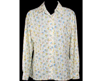 Size 10 Floral Shirt - Adorable Pansy Print 1970s Casual Blouse - Medium - Long Sleeved 70s Top - Pansies - Mint Condition - Bust 39 - 33189