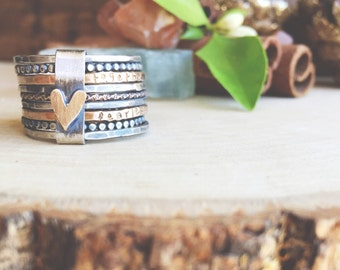 Wild Heart stacking ring set oxidized sterling silver & gold filled rings hand stamped bound stackable rings.